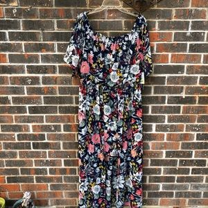 NWT Floral Off-the-Shoulder High-Low Dress
